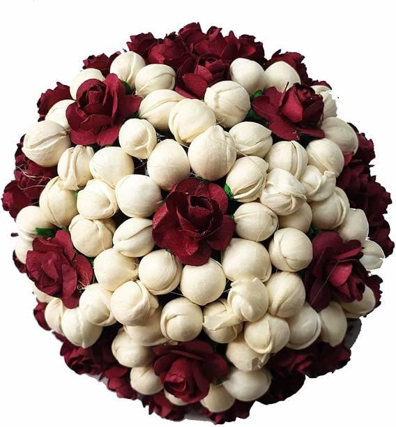 Foreign Holics Maroon Flower With White Mongra Beads Juda Hair Gajra Bun