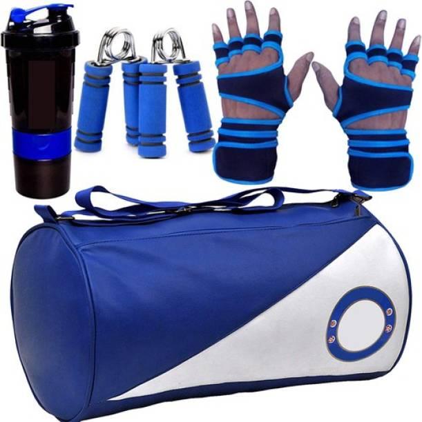 5 O' CLOCK SPORTS Gym Combo Set, Include Blue Chelsea Leather Gym Bag, Blue Lycra Gym Gloves, Blue Spider Shaker and Blue Hand Griper Gym & Fitness Kit