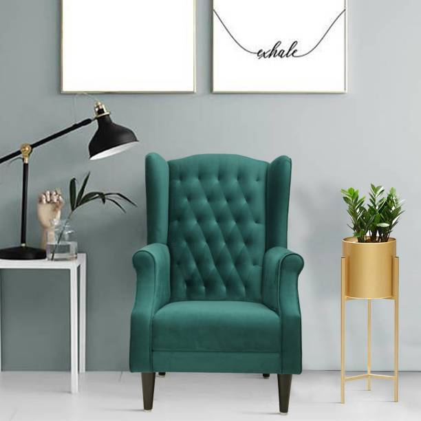 Flipkart Perfect Homes Beleza Tufted Green Wing Chair Solid Wood Living Room Chair