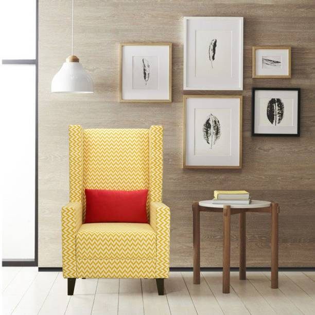 Flipkart Perfect Homes Amor Straight Ochre Wing Chair Solid Wood Living Room Chair