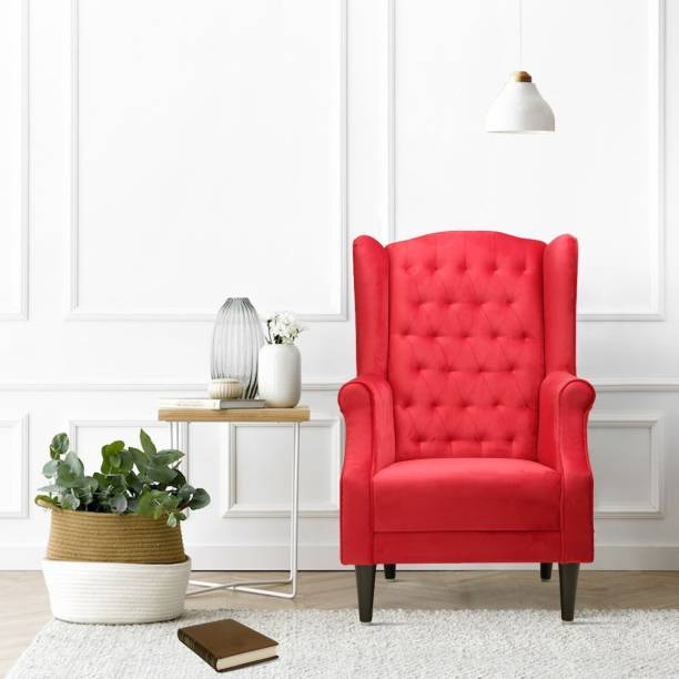 Flipkart Perfect Homes Beleza Tufted Red Wing Chair Solid Wood Living Room Chair