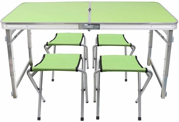 Livzing Multipurpose Adjustable Height Folding Camping Table with 4 Chairs Portable Aluminium Set for Picnic Hiking With Umbrella Hole Metal Outdoor Table