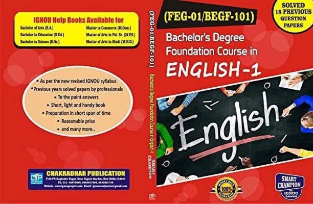 IGNOU BEGF 101 (ENGLISH) (FEG-01/BEGF-101) FOUNDATION COURSE IN ENGLISH-I For IGNOU Exam With Previous Year Solved Papers