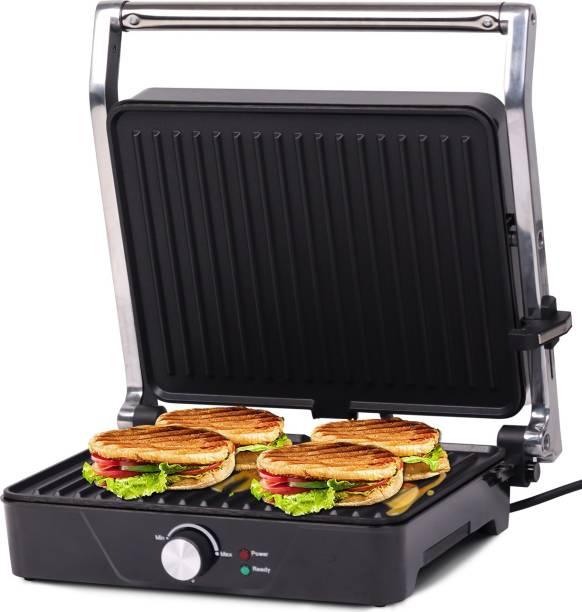 iBELL SM201G 2000-Watt Panini Grill Sandwich Maker, Big Size to Fit 4-Slice Bread, Thermostat Knob, Illuminated Chamber - Silver Grill