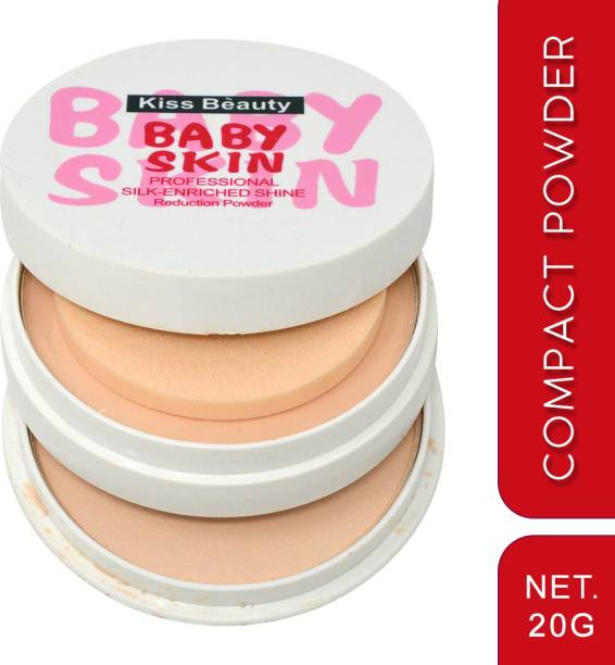 Kiss Beauty Professional Silk-Enriched Shine (Baby Skin) Compact Powder 9510-01 With Adbeni Kajal Compact
