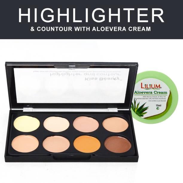 Kiss Beauty 3in1 Brighten, Contour, Concealer Palette 9727-2, 25g with Lilium Aloevera Cream Concealer
