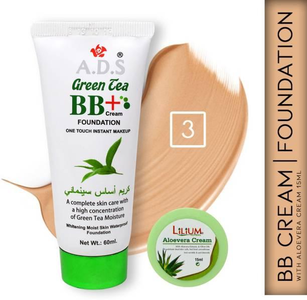 ads Green Tea BB+ Cream Moist Skin Foundation A1677-3 with Lilium Aloevera Cream Foundation