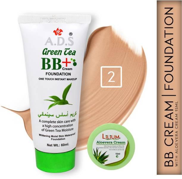 ads Green Tea BB+ Cream Moist Skin Foundation A1677-2 with Lilium Aloevera Cream Foundation