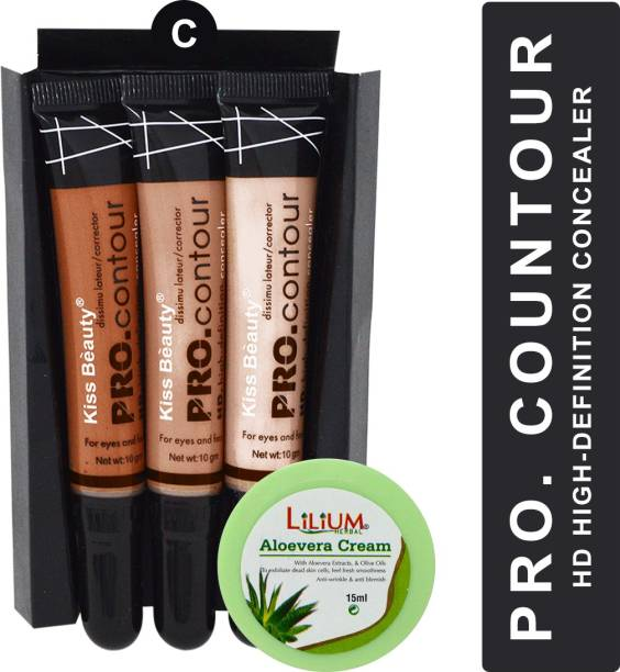 Kiss Beauty High Definition PRO Contour Shade-C with Lilium Aloevera Cream Concealer