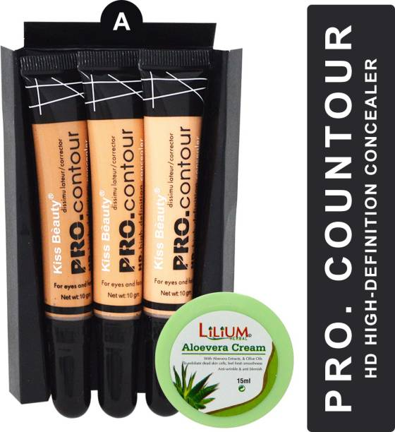Kiss Beauty High Definition PRO Contour Shade-A with Lilium Aloevera Cream Concealer