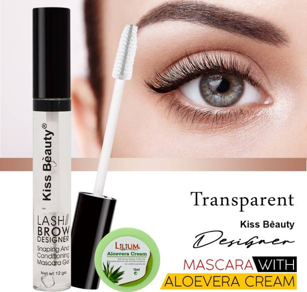 Kiss Beauty Eyelashes Transparent Mascara Gel-56193 with Lilium Aloevera Cream 32 g
