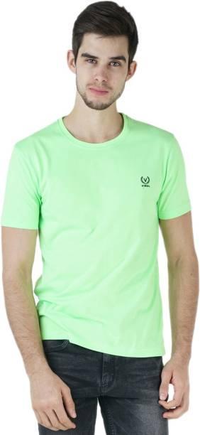 3SIX5 Solid Men Round Neck Green T-Shirt