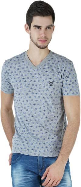 3SIX5 Printed Men V-Neck Silver T-Shirt