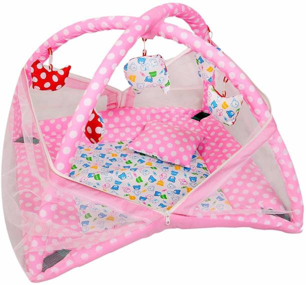 VMANAV KART Baby Kick and Play Gym with Mosquito Net Baby Bedding Set