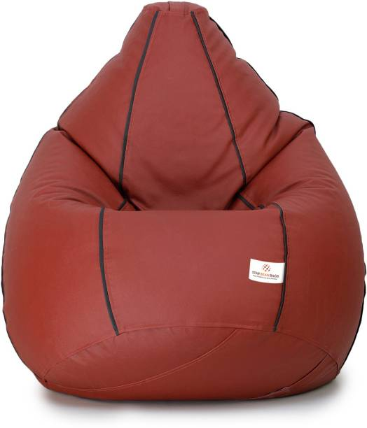STAR XXL Classic Tan With Black Piping Teardrop Bean Bag  With Bean Filling