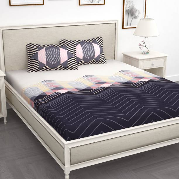 Story@home 210 TC Cotton King Abstract Bedsheet