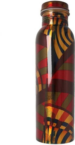 STYLE HOMEZ Pure Copper Bottle, 1000 ML Handmade Floral Meena Printed, Multi Color 1000 ml Bottle