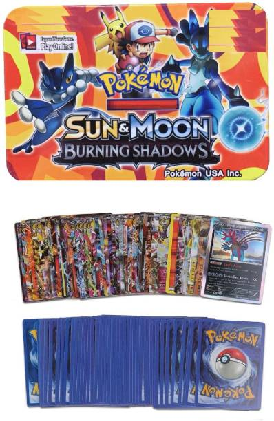Authfort Pokemon Sun & Moon Burning Shadows Series Traddeing Card Game With Metal Box For Kids