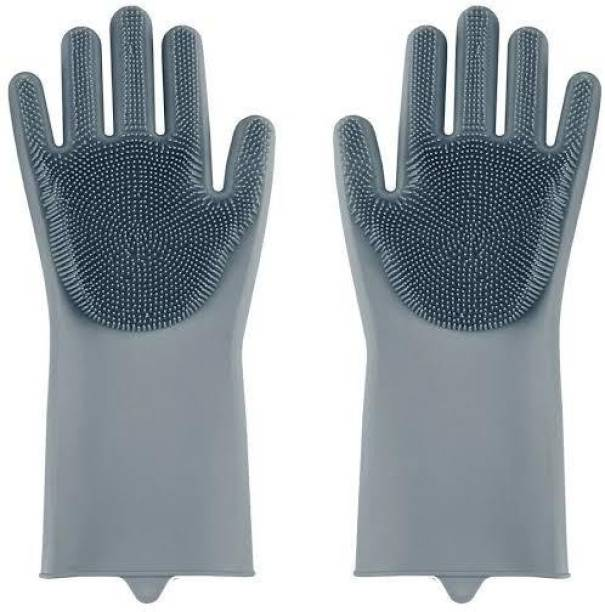 Escudo Scrub Cleaning Gloves with Scrubber for Dishwashing and Pet Groomin Dry Glove Set
