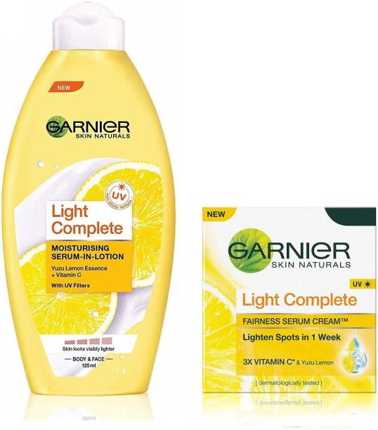 GARNIER Skin Naturals Light Complete Combo - Lotion And Serum Cream SPF 19