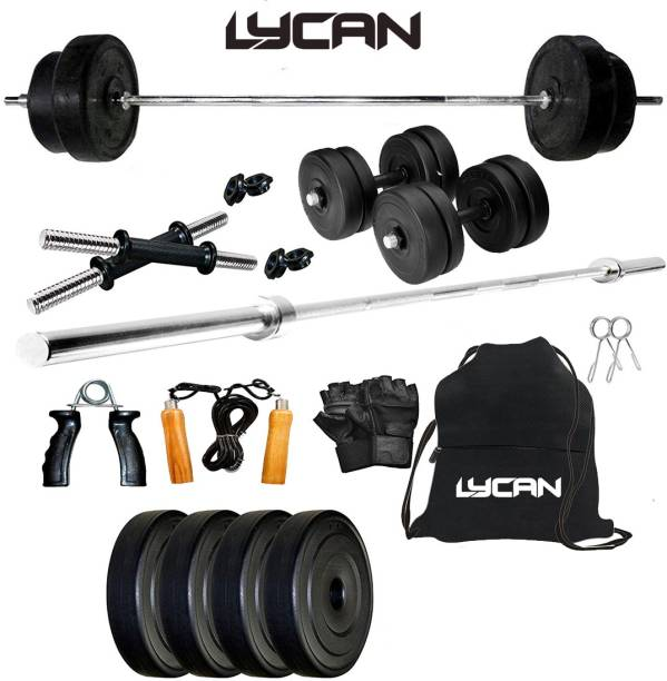 Lycan 10 kg 10kg weight , 3ft biecep rod , dumbbell rod home gym combo Home Gym Combo