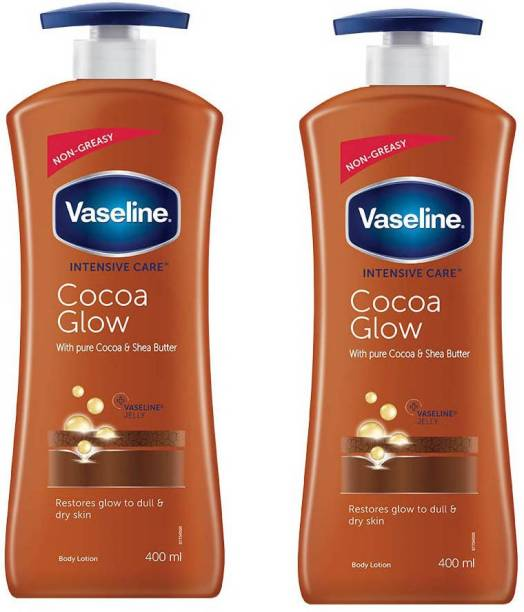 Vaseline Intensive Care Cocoa Glow Body Lotion, 400 ml(2 Pack)