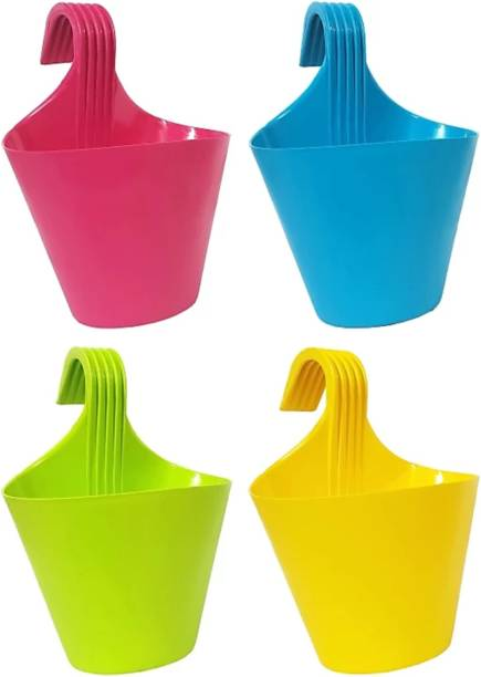 Bromine Decorative and Durable Hanging Pot with Hook- Multicolour - Pack of 4 Plant Container Set (Pack of 4, Plastic) Plant Container Set