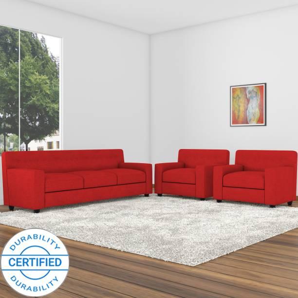 Adorn Homez Solitaire Fabric 3 + 1 + 1 Red Sofa Set