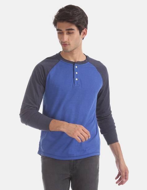 GAP Color Block Men Henley Neck Blue T-Shirt