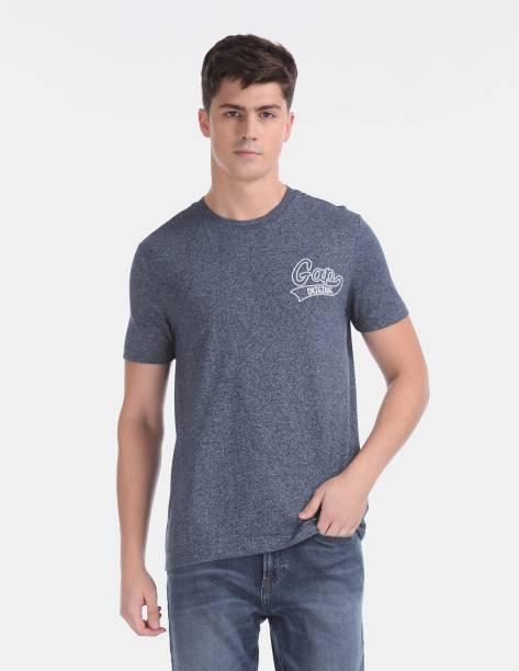GAP Self Design Men Round Neck Blue T-Shirt