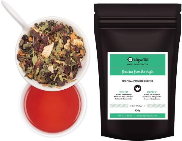 Udyan Tea Tropical Passion Iced Tea, (20 cups) Hibiscus, Cinnamon Green Tea Vacuum Pack