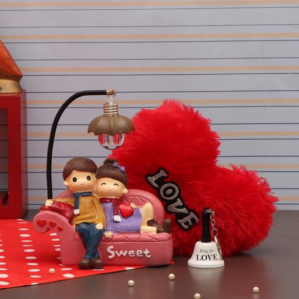 TIED RIBBONS Gift for Girlfriend on Valentines Day - Led Couple Lamp - Special Gift Pack (Couple Showpiece Figurine with Led Lamp, Heart Shape Cushion and Bell Key Chain) Assorted Gift Box