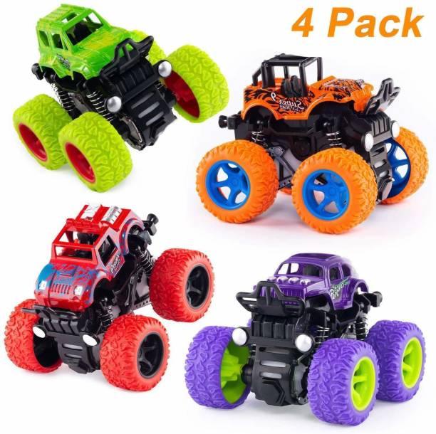 RVTEK 4WD Mini Monster Trucks Friction Powered Unbreakable Cars for Kids Big Rubber Tires Baby Boys Super Cars Blaze Truck Children Gift Toys (Set of 4)