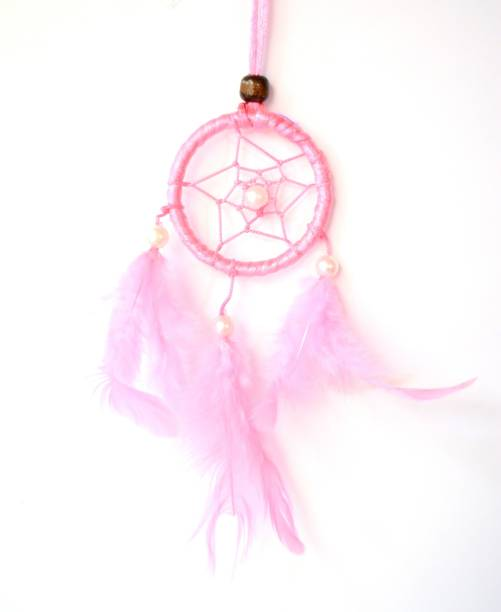 "ONRR Collections Dreamcatcher hanging fengshui showpiece Car hanging decoratives 2""inches pink coloured Dreamcatcher Feather Dream Catcher"