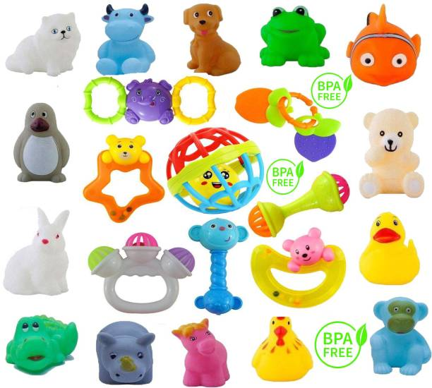 Learn With Fun 22 Pcs Set of Rattles, Teethers and Animal Shape Bath Toys for Infants Baby Kids Bath Toy