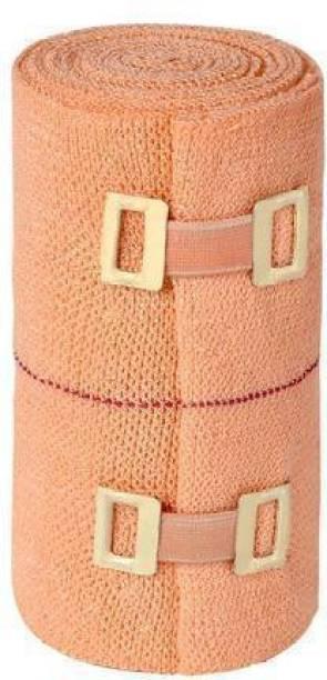 KRABER Premium Elastic Cotton Crepe Bandage Wrap - 10cm x 4meter Stretched Pack of 2 - Durable Compression Bandage (10cm x 4meter - 2nos Roll) Crepe Bandage
