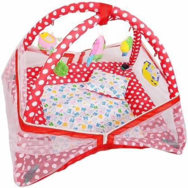 little monkeys BABY PLAY GYM CUM BEDDING BABY MOSQUITO PROTECT MATTRESS Crib (COTTON)