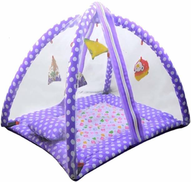 little monkeys Polka Dots Infant Baby Bedding Set with Mosquito Net | Newborn Play Gym with Hanging Toys | New Born Infants Machardani Sleeping Bed; coton,(purple)