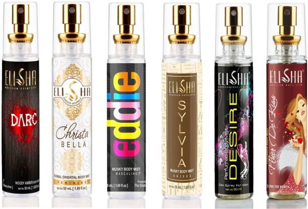 ELISHA Combo Pack of Deo Spray ( 6 Deo Spray) Body Mist  -  For Men & Women