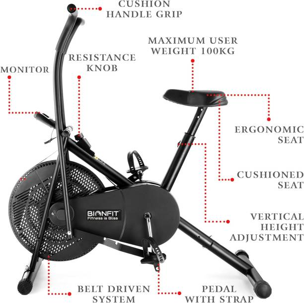 BIONFIT | Air Bike Exercise Cycle Moving Handle | Dual Action Exercise Bike Dual-Action Stationary Exercise Bike