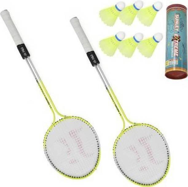 Sunlight Badminton Racket Set Of 2 Piece With 6 Piece Nylon Shuttle Cock Badminton Kit