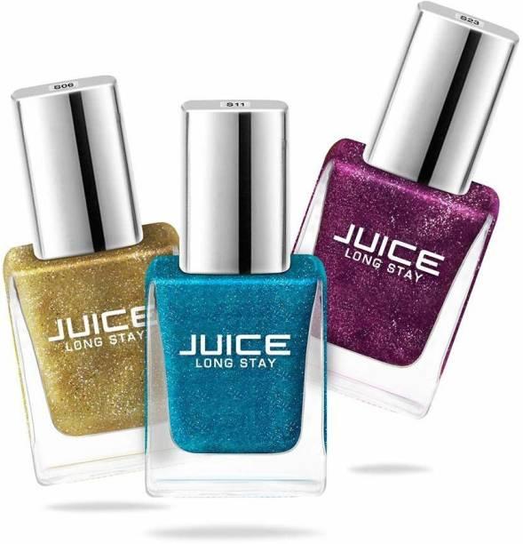 Juice Nail Paint Combo 11 1 Metallic Gold - S06, 1 Aqua Marin - S11, 1 Red Violet - S39