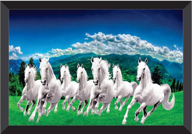 SAF 7 Horses Sunrise Vastu FRAMED UV COATED Digital Reprint 11 inch x 14 inch Painting