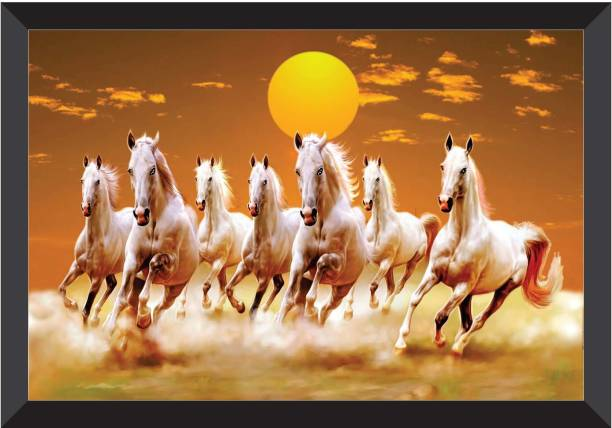 SAF 7 Horses Sunrise FRAMED UV COATED Digital Reprint 11 inch x 14 inch Painting