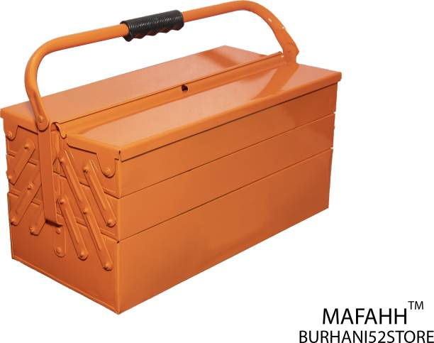 MAFAHH 5 Compartments 4 Trays High Grade Metal Tool Box With Handle For Home Garage Hand Tools Machine Tools Hammer Drill Machine Nuts Screw Driver Weight Upto 30 Kg Suitable For Tools [ Orange_4 ] 5 Compartments 4 Trays High Grade Metal Tool Box With Handle For Home Garage Hand Tools Machine Tools Hammer Drill Machine Nuts Screw Driver For 14 Kg Weights Suitable For Tools [ Orange ] Tool Box with Tray