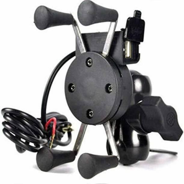 PaxMore X-Grip Mobile Phone Holder with USB Charger Bike Mobile Holder For Pulsar 220 DTS-i Bike Mobile Holder