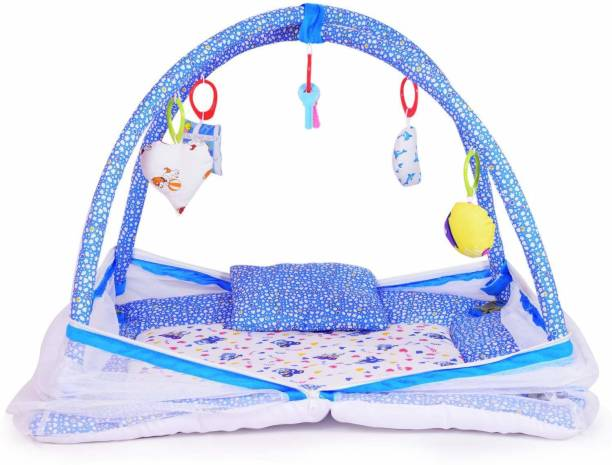 little monkeys Bedding Set Thick Base, Foldable Mattress, rectangle Shape Pillow and Zip Closure Mosquito Net