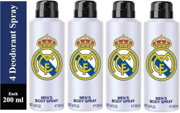 Real Madrid Four WHITE Deodorant Spray for Men Deodorant Spray  -  For Men