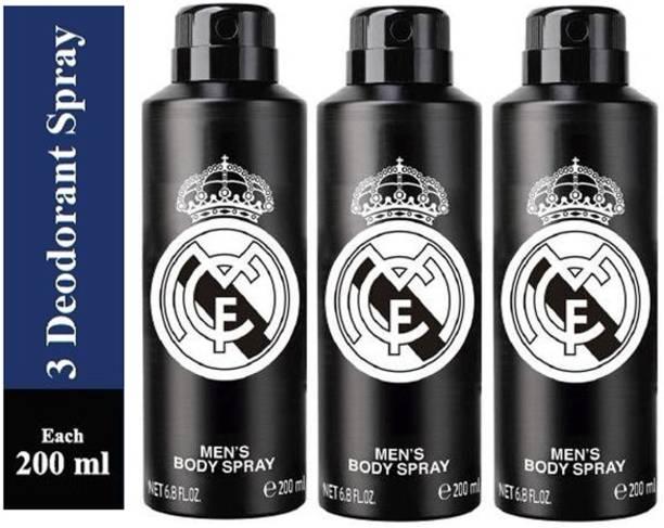 Real Madrid Three BLACK Deodorant Spray for Men Deodorant Spray  -  For Men