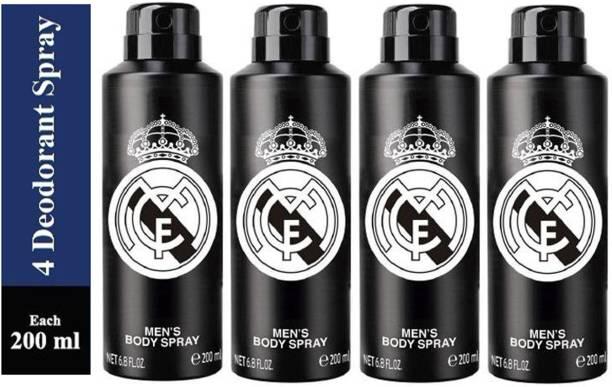 Real Madrid Four BLACK Deodorant Spray for Men Deodorant Spray  -  For Men